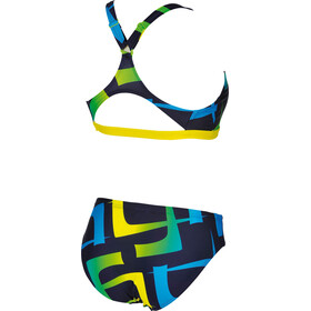 arena Scrawl Two-Pieces Swimsuit Women navy-yellow star